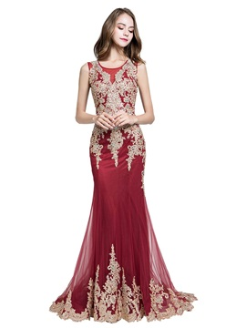 Beading Trumpet Scoop Floor-Length Evening Dress 2019