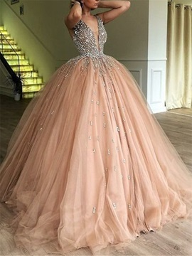 Beading Deep V-Neck Ball Gown Evening Dress 2019