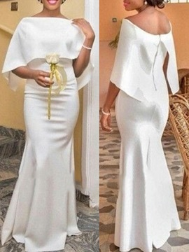 Trumpet Short Sleeves Off-The-Shoulder Evening Dress 2019