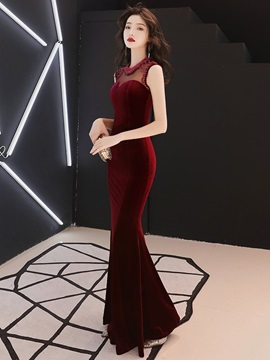 Jewel Sleeveless Floor-Length Pearl Evening Dress 2019