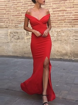Off-The-Shoulder Split-Front Sheath Evening Dress 2019