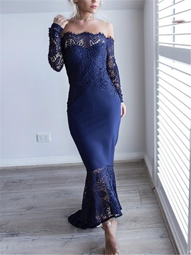 Off-The-Shoulder Lace Asymmetry Long Sleeves Evening Dress 2019