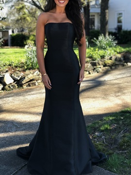 Strapless Mermaid Black Evening Dress 2019