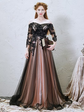 3/4 Length Sleeves Appliques Beading Evening Dress 2019