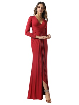 Split-Front Sheath V-Neck Long Sleeves Evening Dress 2020