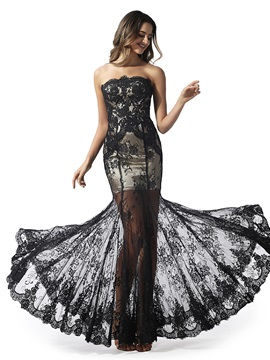 Mermaid Strapless Appliques Lace Evening Dress 2020