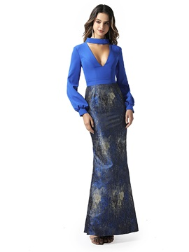 Mermaid Hollow Print Long Sleeves Evening Dress 2020