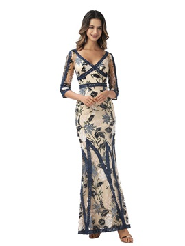 Trumpet 3/4 Length Sleeves V-Neck Lace Evening Dress 2020