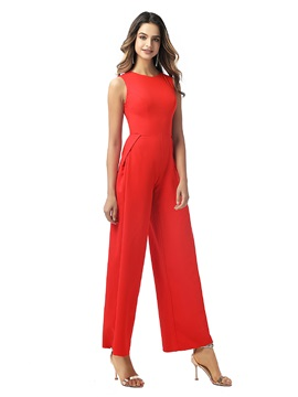 Ankle-Length Jewel Neck Sheath Evening Jumpsuits 2020