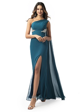 Sheath One Shoulder Beading Evening Dress 2020