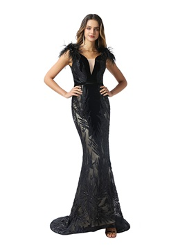 Appliques Sequins Feather Mermaid Evening Dress 2020