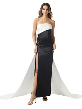Strapless Column Bowknot Watteau Train Evening Dress 2020
