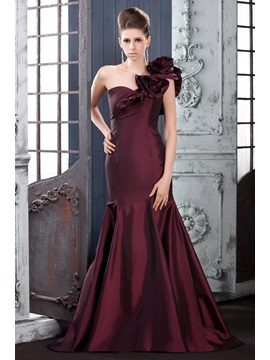Elegant Mermaid One-Shouder Sweep Train Flowers Long Lara's Evening Dress & cheap Evening Dresses