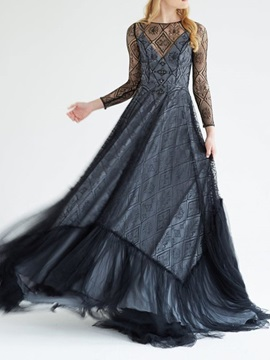 Floor-Length Sweep Brush Scoop A-Line Black Evening Dress