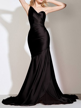 Sleeveless Trumpet Mermaid Floor-Length Black Wedding Party Dress