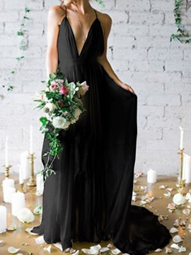 V-Neck A-Line Floor-Length Sleeveless Garden Outdoor Black Wedding Dress