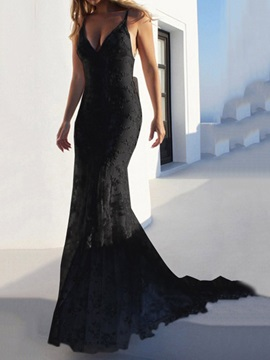Trumpet Mermaid Floor-Length V-Neck Sleeveless Black Hall Wedding Dress