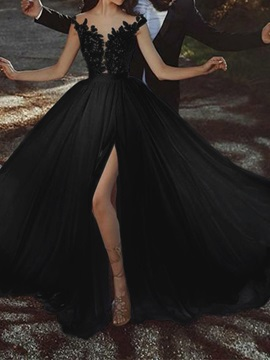 Floor-Length Embroidery V-Neck Trumpet Mermaid Garden Outdoor Black Wedding Dress