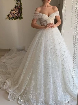 White Floor-Length Sequins Off-The-Shoulder Ball Gown Church Wedding Dress