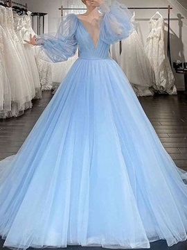 V-Neck Long Sleeves Ball Gown Floor-Length Wedding Party Dress