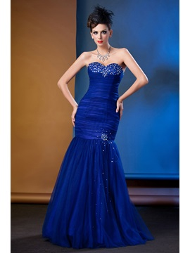 Charming Beading Ruched Mermaid Sweetheart Long Taline's Evening Dress
