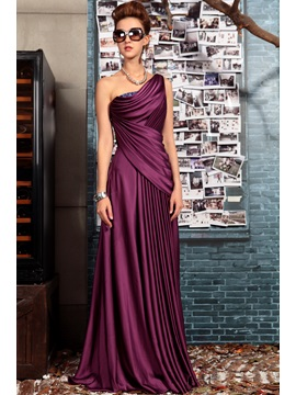 Noble One-Shoulder Beading Draped Evening Dress & Evening Dresses for sale