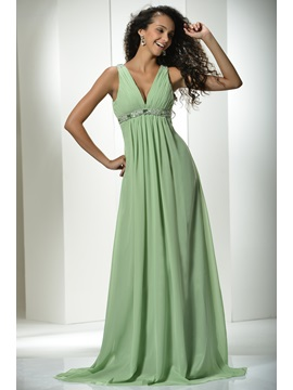 Graceful A-Line V-Neck Beading Empire Waistline Long Prom Dress & Prom Dresses for sale