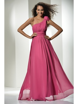 Top Selling One-Shoulder Flowers A-Line Ruched Floor-Length Prom Dress & Prom Dresses online