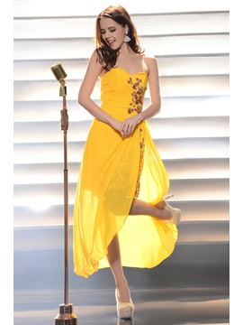 Perfect Sweetheart Split-Front Appliques Tea-Length Prom/Homecoming Dress & formal Prom Dresses