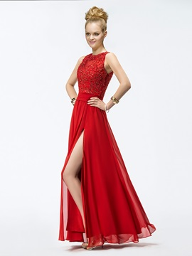 Brilliant A-Line Appliques Split Front Floor-Length Prom Dress & Prom Dresses under 500