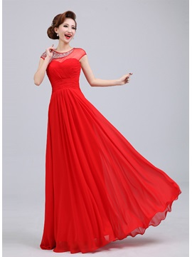 Exquisite Scoop Neck Sequins&Beading Floor-Length A-Line Prom Dress & attractive Prom Dresses