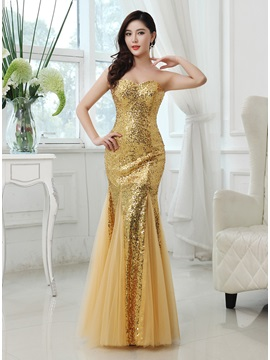 Shining Trumpet Sweetheart Sequins Zipper-up Long Prom Dress & Prom Dresses 2012
