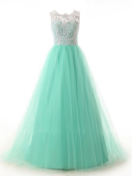 A-Line Scoop Neck Button Lace Prom Dress