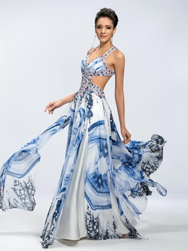 A-Line Beading Floral Print Criss-Cross Straps Floor-Length Prom Dress & Prom Dresses for less