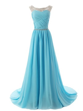 Beaded Straps Scoop Neck Pleats A-Line Sweep Train Prom Dress with Sparkling Embellished Waist & fairytale Prom Dresses