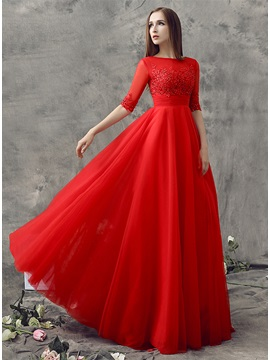 Wonderful Half Sleeves Appliques Sequins Long Prom Dress & fairy Prom Dresses