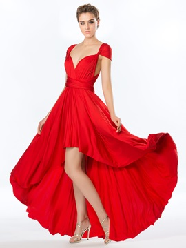 Simple Style Ruffles A-Line Asymmetry Convertible Prom Dress & romantic Prom Dresses
