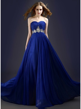 Stunning A-Line Sweetheart Beading Pleats Lace-up Long Prom Dress & Prom Dresses for less