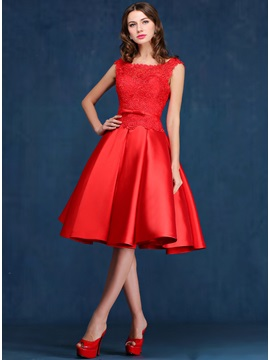 Delicate Straps A-Line Lace Knee-Length Red Prom Dress & formal Prom Dresses
