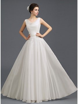 A-Line Round Neck Pearls Long Prom Dress & Prom Dresses online