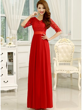Delicate Lace V-Neck Half Sleeves A-Line Long Prom Dress & Prom Dresses for less