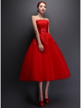 Tidebuy Strapless Lace A-Line Tea-Length Prom Dress & Prom Dresses for less