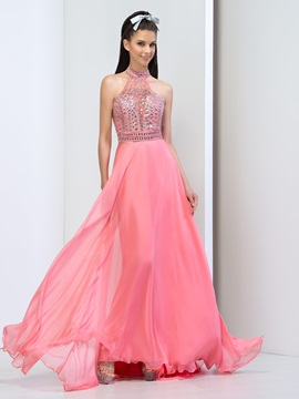 Fashionable High Neck Sequins Beaded Hollow Long Prom Dress & Prom Dresses online