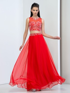 Super Jewel Neck Beaded Sequins Two Pieces Long Red Prom Dress & Prom Dresses for sale