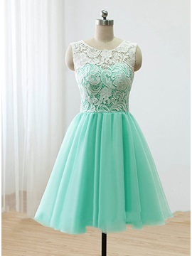 Hot Sale Scoop Neck Button Short Lace Prom Dress & romantic Prom Dresses
