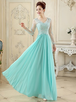 Fancy V-Neck Appliques Sequins A-Line Long Sleeves Long Prom Dress & Prom Dresses from china