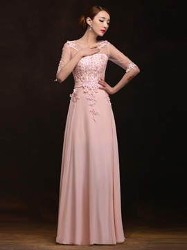 Fancy Scoop Neck Appliques Pearls Half Sleeves A-Line Long Prom Dress & Prom Dresses on sale