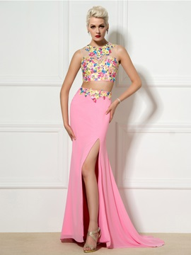 New Style Two Pieces Jewel Neck Appliques Beaded Split-Front Long Prom Dress & amazing Prom Dresses