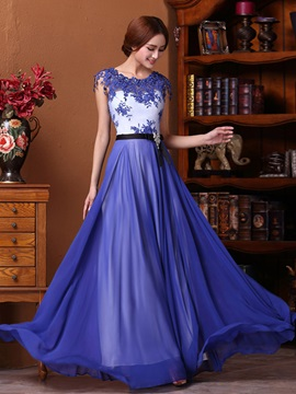 Hot Sale Bateau Neckline Appliques Crystal A-Line Long Prom Dress