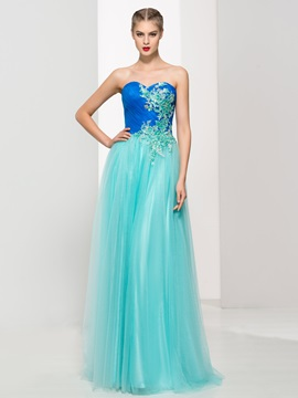 Tulle Sweetheart Sequins Appliques Lace-Up Prom Dress & discount Prom Dresses